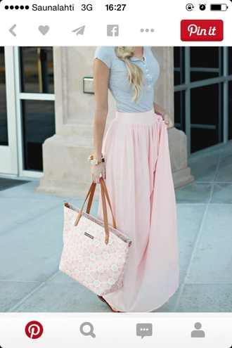 skirt shirt blush maxi skirt t-shirt pink skirt summer outfits pants where to get any of this? pink maxi skirt light pink cute summer casual model chic spring cute outfits