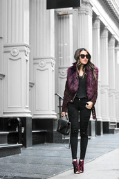 wendy's,lookbook,blogger,top,jacket,bag,shoes,suede jacket,ysl bag,black jeans,ankle boots,purple shoes,winter date night outfit,fur collar jacket