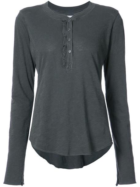 NSF - Baylor long sleeve T-shirt - women - Cotton - M, Grey, Cotton