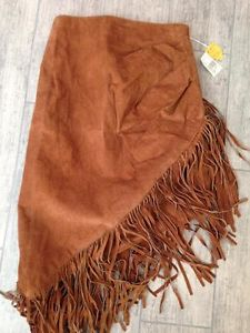 Fringe Leather Skirt Brown Vtg 80's Western Boho Pig Suede Womens orignial tags