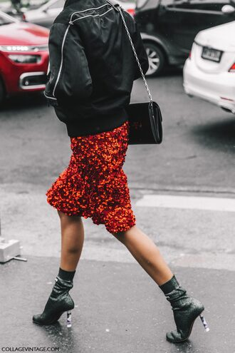 skirt tumblr fashion week 2017 streetstyle midi skirt red skirt pencil skirt sequins sequin skirt boots ankle boots sock boots high heels boots silver silver boots jacket black jacket black bomber jacket bomber jacket bag black bag chain bag