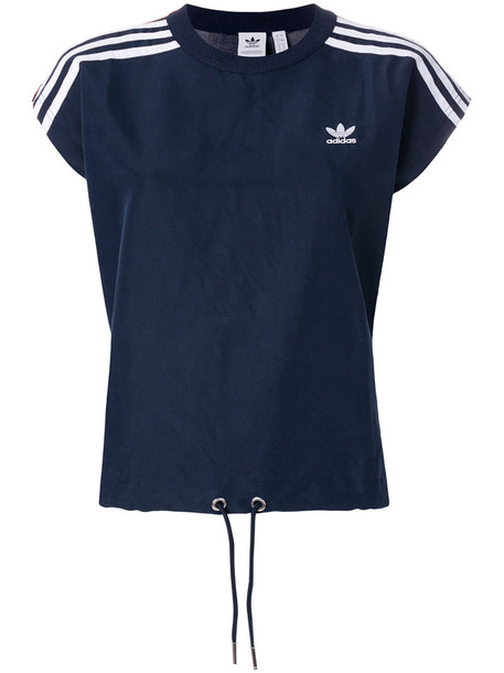 Adidas - signature striped T-shirt - women - Cotton/Polyester/Lyocell/Rayon - 40, Blue, Cotton/Polyester/Lyocell/Rayon