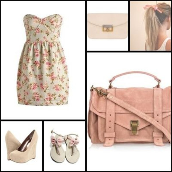 dress floral dress strapless strapless dress bustier dress sandals bow pink clothes shoes purse strapless top bag floral beige