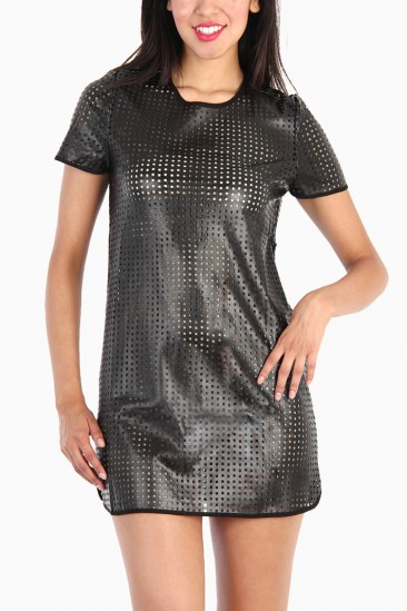 LoveMelrose.com From Harry & Molly | Square Hole Cut Out Leather Dress - Black
