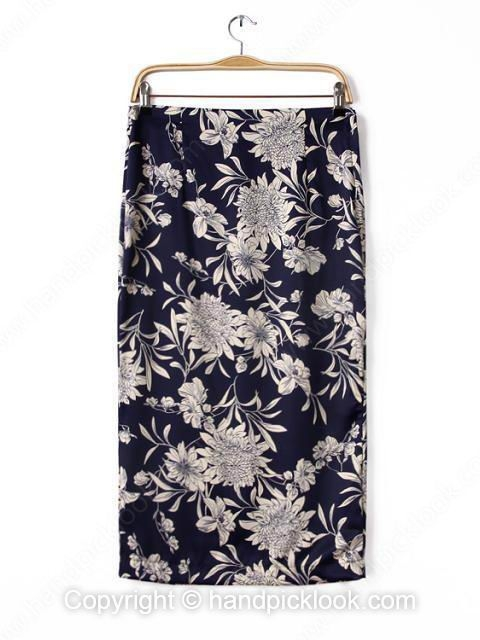 Blue Zipper Fly Floral Print Slim Skirt - HandpickLook.com