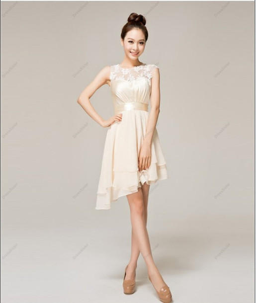 dress bridesmaid bridesmaid short bridesmaid dress chiffon dress cream dress short dress homecoming dress short wedding dress asymmetrical lace details elegant prom formal cute fashion romantic trendy nude feminine vanessawu