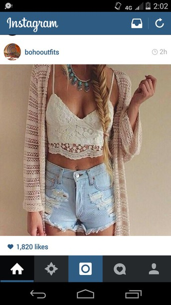 cardigan clothes necklace distressed denim shorts crotchet bralet blouse