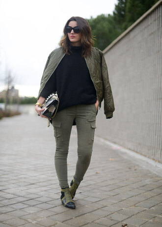 lovely pepa blogger khaki pants quilted bomber jacket studded shoes jacket pants shoes sweater bag jewels sunglasses army green jacket khaki bomber jacket