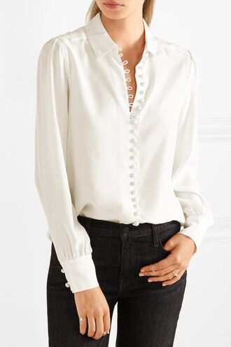 blouse white blouse white top button up button up blouse