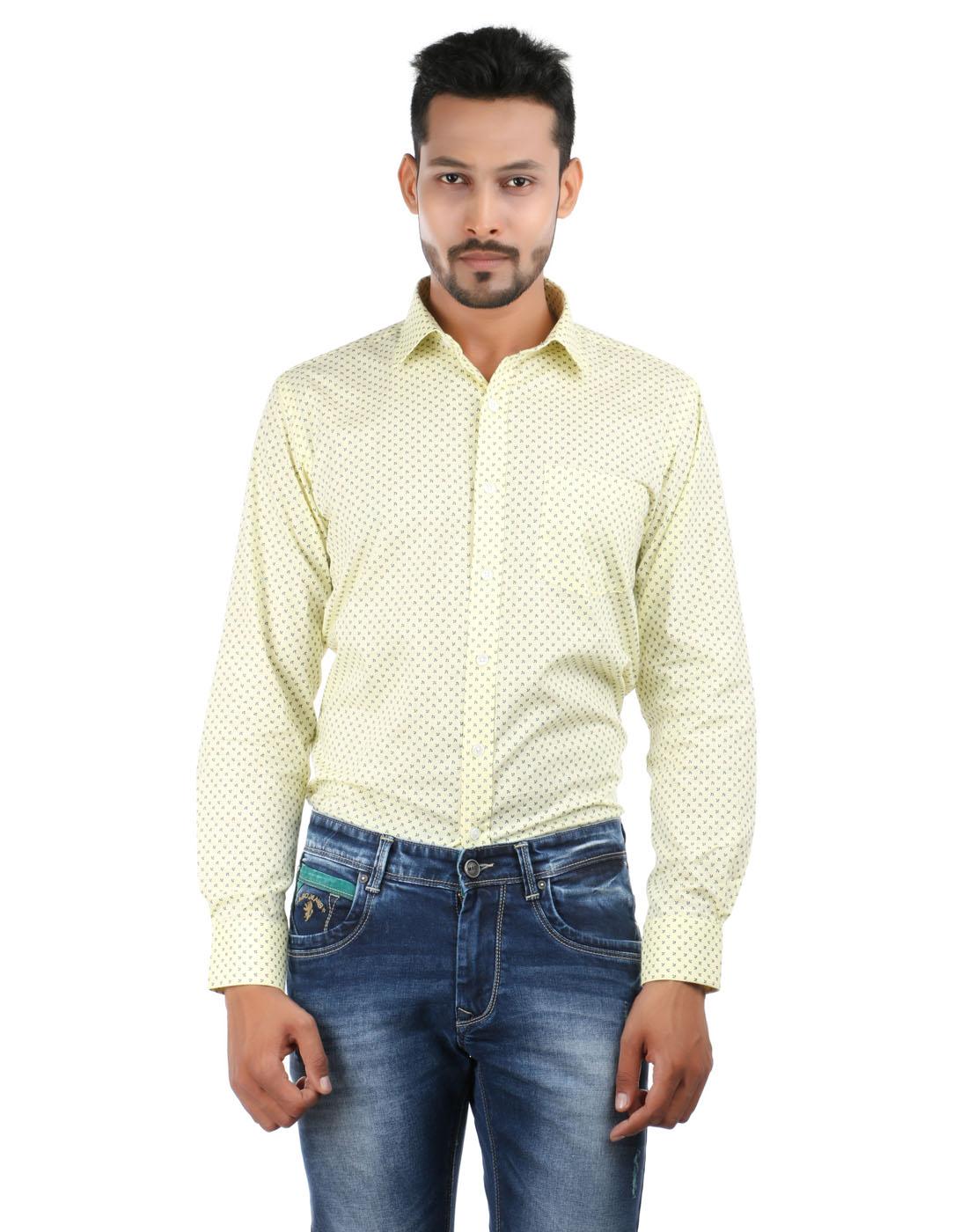 Oxemberg - Oxemberg Men's Printed Formal 100% Cotton Yellow Shirt