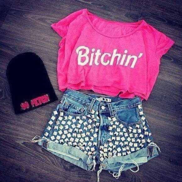 tank top shirt pink hot pink neon pink girly gorgeous white bold color style pants hat shorts colors studs t-shirt beanie