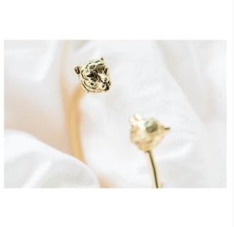 jewels bracelets gold gold jewelry tiger print cute smart tiger face