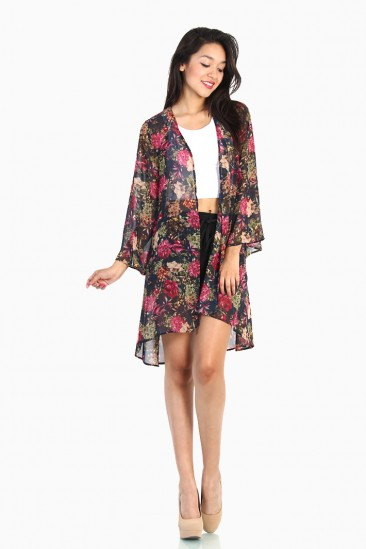 LoveMelrose.com From Harry & Molly | Floral Kimono Cardigan - Multi-Navy