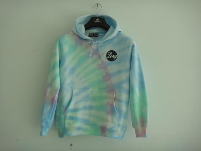 Dyeing gradient with a hood sweatshirt harajuku three