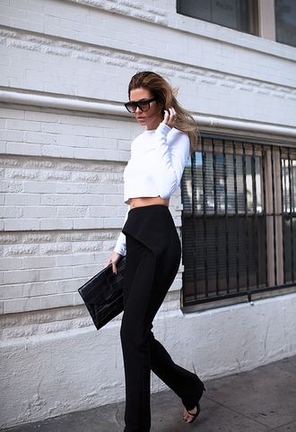 blogger black pants white top white crop tops black sunglasses sunglasses top bag pants shoes blouse white white bouse shirt white shirt street tattoo blonde hair backless blouse belly high heels summer