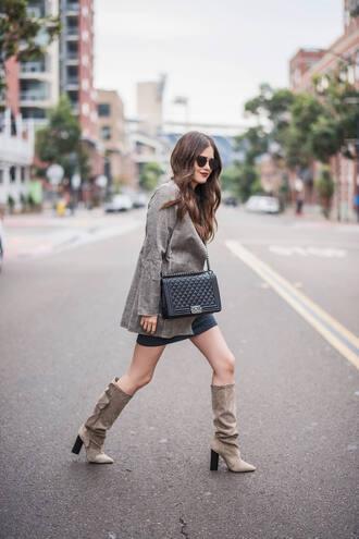 shoes tumblr boots slouchy boots grey boots coat grey coat bag black bag sunglasses