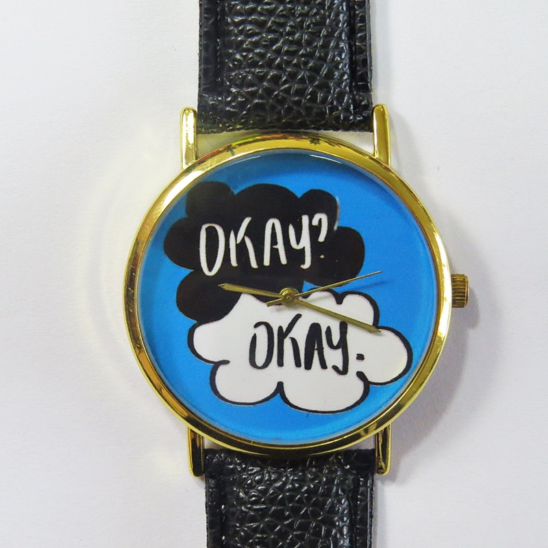Okay Watch , The Fault in our Stars , Vintage Style Leather Watch, Women Watches, Boyfriend Watch, Men's watch, blue, white, black,