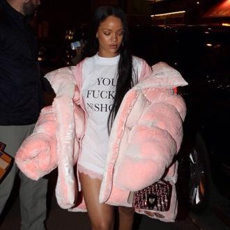 jacket pink pink jacket rihanna pink fur coat