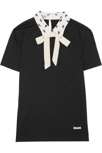 top cotton black silk