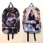 bag,backpack,urban,street,arty,art,painting,bookbag,back to school,design,cool,jesus bag,school bag,print,grunge,eastpak,eastpak backpack