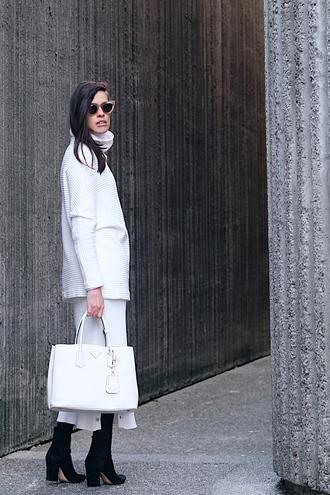 melissa araujo blogger sweater skirt shoes sunglasses bag handbag midi skirt boots turtleneck sweater