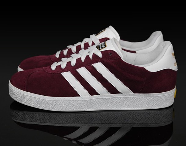 shoes, granate, adidas, adidas gazelle, sneakers, tumblr, footwear, fashion, style, sportswear, adidas shoes, white, red, adidas superstars, ...