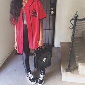 jacket,baseball,top,jersey,red jersey,red jacket,baseball jersey,oversized shirt dress