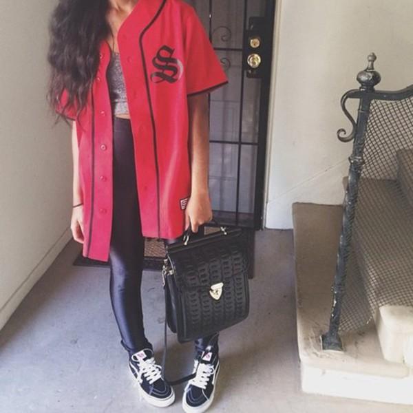 jacket baseball top jersey red jersey red jacket baseball jersey oversized shirt dress