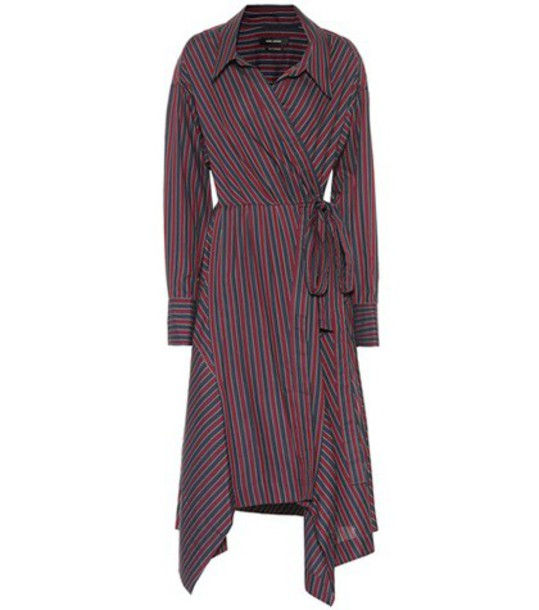 Isabel Marant Mila striped cotton wrap dress in red
