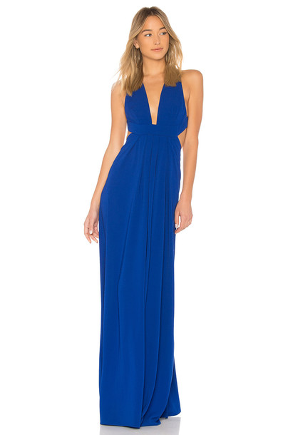 Jill Jill Stuart gown v neck blue dress