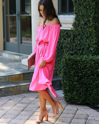 dress tumblr midi dress pink dress pink off the shoulder off the shoulder dress long sleeves long sleeve dress sandals sandal heels high heel sandals bag shoes