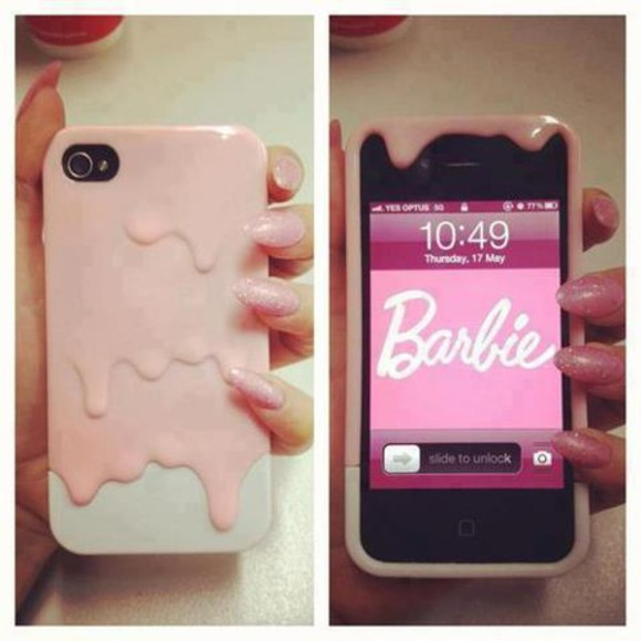 light pink phone case chocolate dripping case phone dripping barbie iphone case