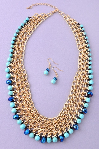 Turquoise and Gold Necklace | uoionline.com: Women's Clothing Boutique