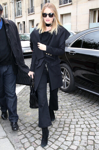 jeans cropped bootcut black jeans black jeans cropped bootcut jeans cropped jeans coat black coat winter outfits winter coat boots black boots sunglasses black sunglasses top black top bag black bag rosie huntington-whiteley celebrity style celebrity model black choker
