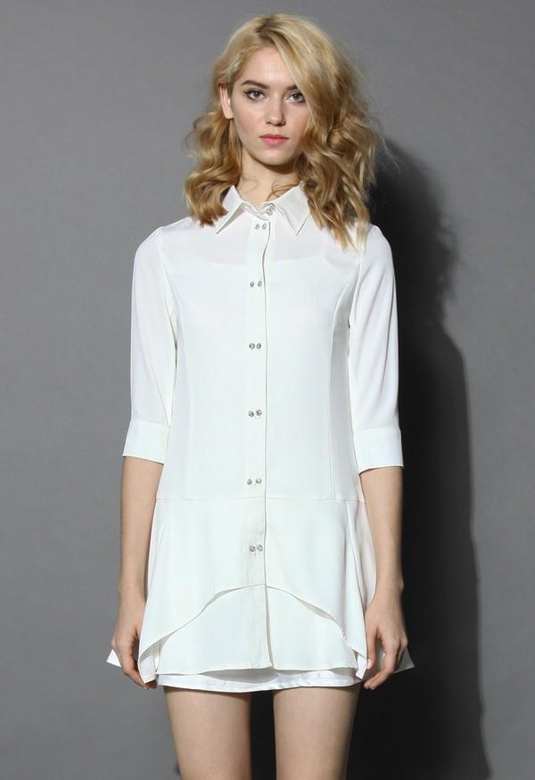 chicwish shirt dress flare dress mid-sleeves dress