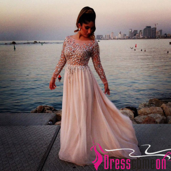 dress long sleeves dress pink crystal prom dresses crystal sexy prom dress evening dresses open back long chiffon dress beading prom dress sexy dress sexy party dresses evening dresses 2014 see through dress long chiffon dress for prom/wedding party and formal evening