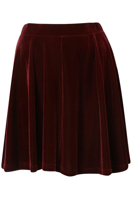 Burgundy Velvet Skater Skirt | With Love Boutique