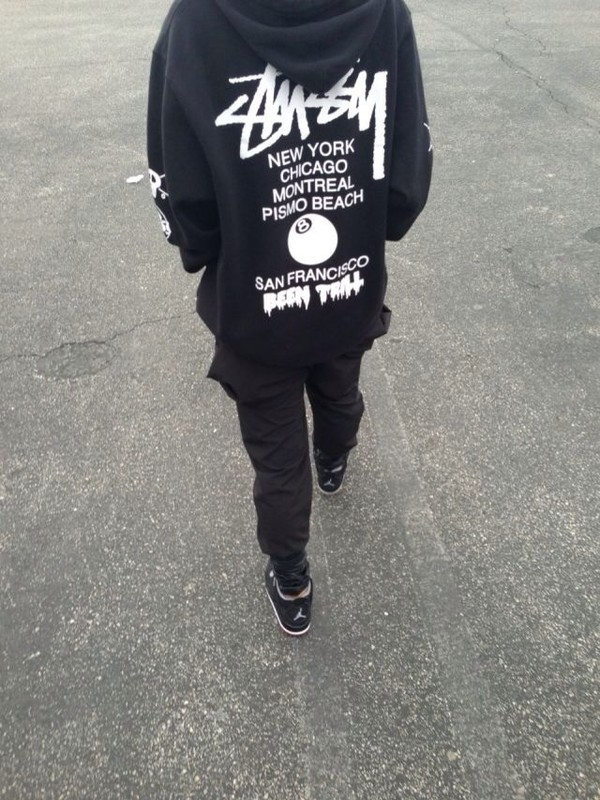 jacket stussy tumblr tumblr clothes retro black and white sweatshirt sweater long sleeves dope hipster hoodie been trill