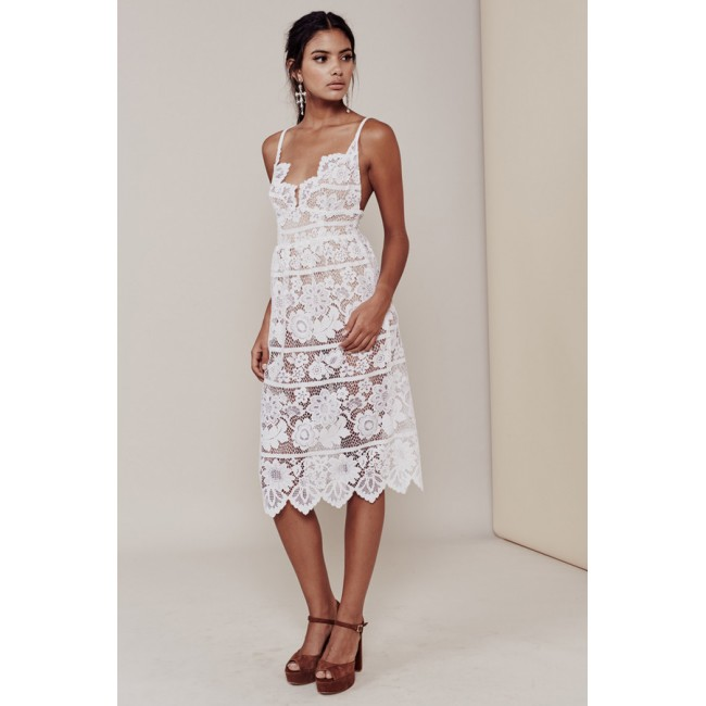 White Lace Spaghetti Strap Midi Dress