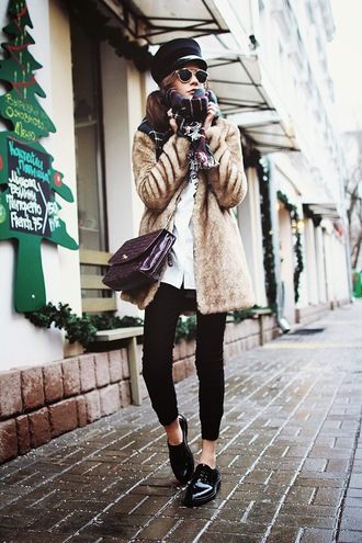 oh my blog blogger faux fur coat fisherman cap black shoes winter outfits coat shirt pants scarf hat jewels sunglasses
