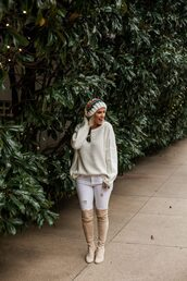 the courtney kerr,blogger,shoes,jeans,sweater,hat,sunglasses,jewels,beanie,winter sweater,thigh high boots,oversized sweater,white jeans,nude boots