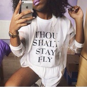 t-shirt,graphic tee,white,white t-shirt,boyfriend tshirt,tumblr outfit,tumblr shirt,tumblr,tumblr girl,tumblr clothes,dope,fashion,style,jacket,purple,curly hair,natural hair,iphone case,mesh,shorts,watch,adidas