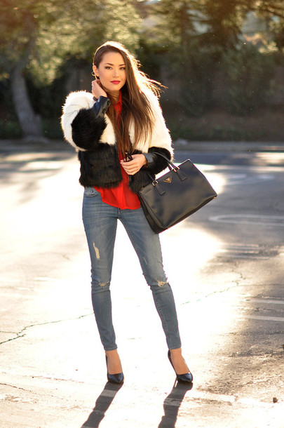 hapa time blogger blouse faux fur jacket ripped jeans black bag coat sunglasses bag shoes