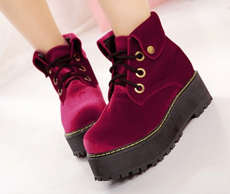 Women's Faux Suede Lace Up Punk High Platform Collar Cuffed Flat Creeper Shoes | eBay
