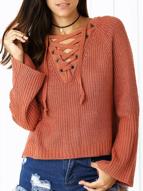 sweater knitwear criss cross long sleeves fashion fall outfits style trendy lace up zaful