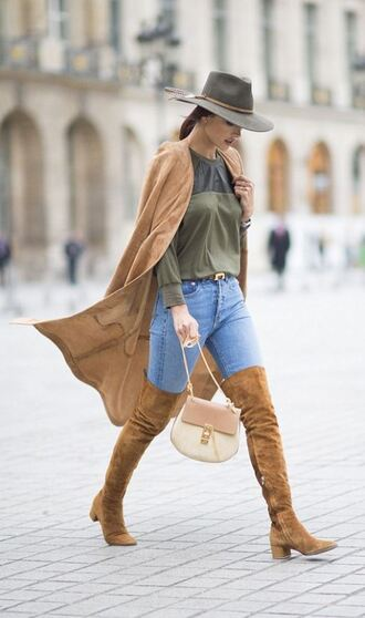 coat top camel camel coat suede boots alessandra ambrosio model off-duty jeans hat purse
