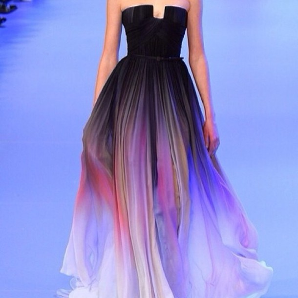 dress prom dress strapless dress ombre dress multicolor long prom dress prom dress ombre cute dress ombre prom dress black dress colorful purple pink black beautiful dresses elie saab violet