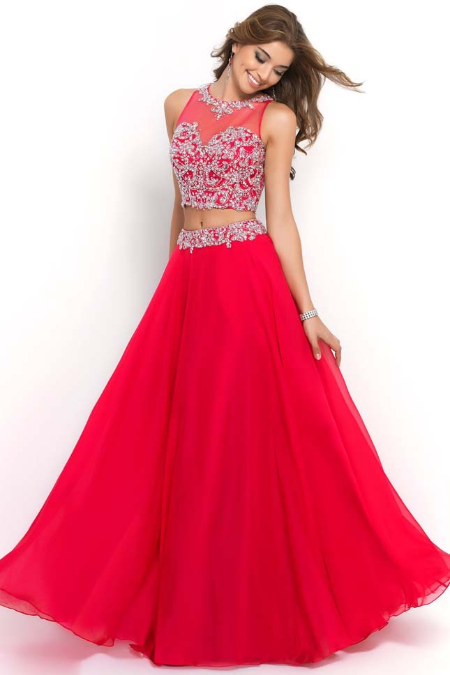 2014 Long Cerise Beaded Applique Bodice Two Piece Blush 9906 Prom Dress [Blush 9906 Prom Dress ...