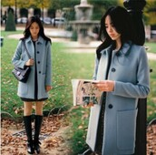 coat,jacket,black,blue,dress,clothes,asian,japan,korean fashion,cute,style,straight,button,girl,women