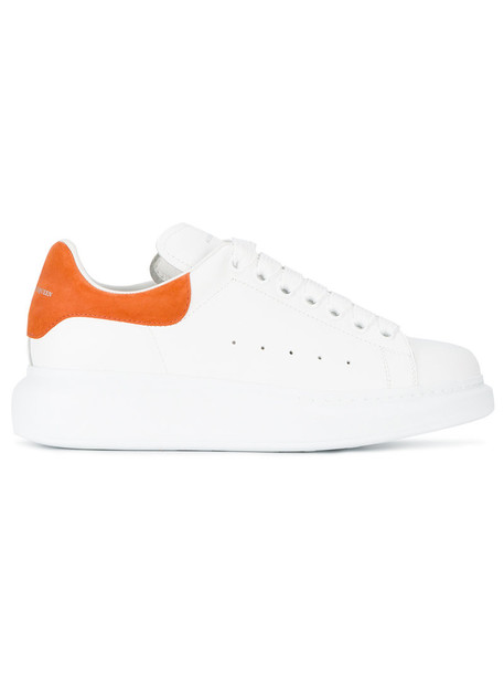 Alexander Mcqueen women sneakers platform sneakers leather white suede orange shoes